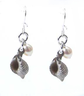 silver whelk shell earrings