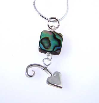 silver abalone heart necklace