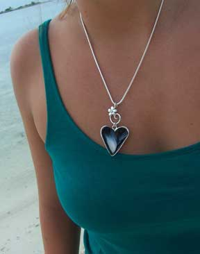 silver mussel heart necklace